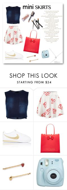 """mini skirts 7"" by marvelialauraa on Polyvore featuring River Island, NIKE, Ted Baker and Marc Jacobs"