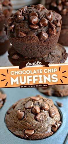 5 reviews · 30 minutes · Vegetarian · Serves 18 · Double Chocolate Chip Muffins are moist, rich, delectable muffins that are the best back-to-school breakfast! This homemade breakfast muffin recipe is a chocolate lover's dream come true! Pin this… Cookie Desserts, Sweet Desserts, Dessert Recipes, Yummy Recipes, Double Chocolate Chip Muffins, Semi Sweet Chocolate Chips, Vegetarian Chocolate, Chocolate Recipes, School Breakfast