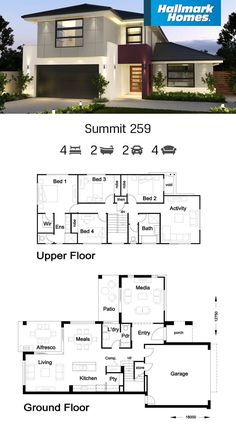 If you're looking for a little more living space, the Summit 259 could be perfect for you. The addition of a large media room on the ground floor provides extra room for growing families. With four bedrooms and an activity room upstairs, this home is very comfortable for modern living.