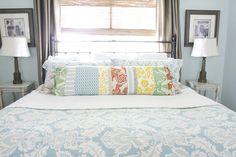 Faça esta capa para almofada lombar em patchwork com as cores ou as estampas de sua preferência (Foto: mesewcrazy.com)