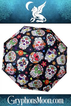 What a sight! Every inch of this umbrella is covered with colorful sugar skull artwork. This full-sized umbrella measures across, but collapses to only long when closed. Based on artwork by Devon Carlson. Sugar Skull Artwork, Devon Carlson, Moon Logo, Samhain Halloween, All Souls Day, Rain Storm, Day Of The Dead, Bag Storage, Mother Day Gifts