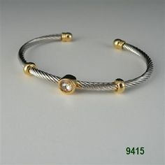 Clear Mini Two Tone Round CZ Cable Bracelet