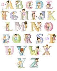 """The """"Alphabet fairies"""" - personalised nursey name print Alphabet Art, Alphabet And Numbers, Superhero Letters, Fairy Names, Handmade Wooden Toys, Family Print, Baby Drawing, Baby Fairy, Wedding Prints"""
