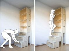smart idea --  http://zeospot.com/staircase-shelf-with-stairs/