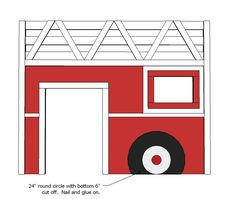 How to build a fire truck loft bed. Free step by step plans to build a fire engine loft bed. Ana White, Fire Truck Bedroom, Tractor Bed, Kids Bed Design, Loft Bed Plans, Truck Room, Diy Bed, Easy Diy Projects, Wood Projects