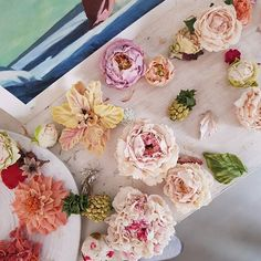 Buttercream Flowers, Buttercream Icing, Bean Paste, Blooming Flowers, Cake Designs, Cake Decorating, Floral Wreath, Wreaths, Table Decorations