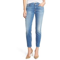 7 For All Mankind 'Kimmie' Frayed Hem Crop Skinny Jeans (Vivid... ($80) ❤ liked on Polyvore featuring jeans, mid rise skinny jeans, 7 for all mankind skinny jeans, frayed-hem jeans, zipper skinny jeans and denim skinny jeans