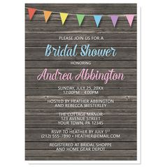 Rustic Bridal Shower invitations with a rainbow bunting flags design over a dark brown wood background. A perfect design for Spring and Summer celebrations.