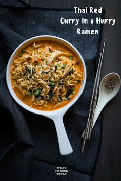 Thai Red Curry in a Hurry Ramen. Thai Red Curry in a Hurry Ramen. Comforting delicious creamy and spicy (or not) bowl of ramen noodles in less than 30 minutes. Pasta Dinner Recipes, Ramen Recipes, Quick Dinner Recipes, Spicy Recipes, Meat Recipes, Asian Recipes, Curry In A Hurry, Curry Ramen, Homemade Ramen