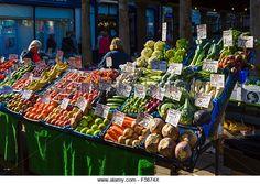 Fruit and vegetable stall in the market, Market Place, Hexham, Northumberland, England, UK - Stock Image