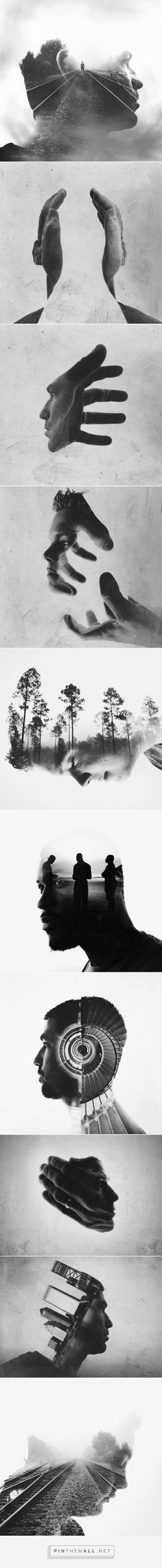 In this series, I like the use of double exposure mixed with black and white pictures. The images seem wispy and mysterious. Photo Collage Photoshop, Creative Photoshop, Photoshop Images, Cool Photoshop, Photoshop Design, Photoshop Tips, Effects Photoshop, Montage Photography, Photography Series