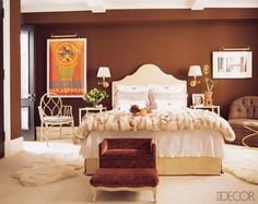 Bunny, interior designer Todd Romano's miniature dachshund, takes a load off after climbing onto his master's luxurious bed. Dream Bedroom, Home Bedroom, Master Bedroom, Bedroom Inspo, Bedroom Inspiration, Bedroom Sets, Manhattan Apartment, Dark Walls, Purple Walls