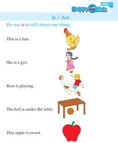 Kindergarten English Is / Are English Writing Skills, English Reading, English Book, Pre Writing, English Grammar For Kids, English Grammar Worksheets, Teaching English, English Exercises, Free Preschool