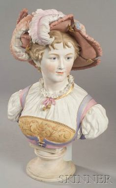 A Bisque enamel European Bust of a Renaissance Lady, 1901-1925, the woman in feathered hat, on shelf socle, with gilt accenting