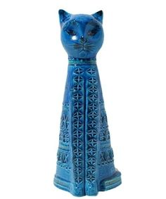 This is one of the Rimini Blu range designed in the 1950s by Aldo Londi the former art director of Bitossi.  It is marked Bitossi on the inside. It measures about 33cm in tall Large Bitossi Rimini Blue aldo londi animal figure CAT italian pottery Blu | eBay