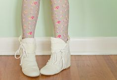 floral tights, white booties.