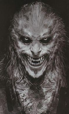 ideas for creepy monster concept art Dark Fantasy Art, Dark Art, Art Zombie, Zombie Mask, Werewolf Art, Werewolf Tattoo, Vampires And Werewolves, World Of Darkness, Creatures Of The Night