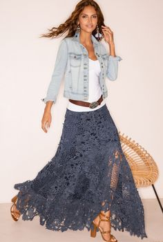 Lace Boho Maxi Skirt Boho maxi skirt made of lace Maxi Skirt Boho, Bohemian Skirt, Boho Skirts, Bohemian Style, Lace Skirt Outfits, Dress Lace, Jean Skirts, Denim Skirts, Lace Maxi Skirts