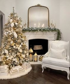White and Gold Glam Christmas Decor – The Decor Diet Christmas Tree And Fireplace, Elegant Christmas Trees, Merry Christmas, Christmas Tree Inspiration, Gold Christmas Decorations, Gold Christmas Tree, Christmas Home, Decorating Mantle For Christmas, Traditional Christmas Decor