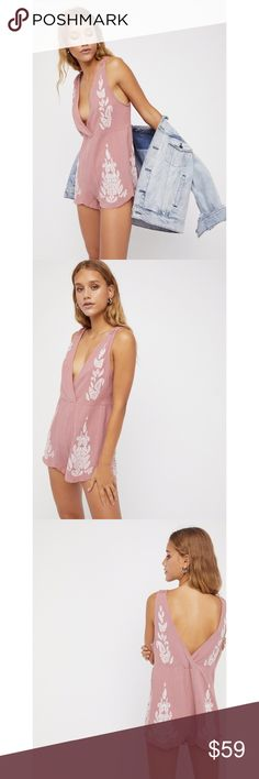 """BNWT Free People Songbird Romper in Dusty Pink Brand new with tag & authentic. As with most FP clothing, this runs big but can be worn with a belt like the last picture.  ⭕️️Reasonable offers 🚫trades/PayPal  Style: 38852141  Crinkly cotton romper featuring a plunging V surplice neckline and allover embroidery detailing. Uneven hem with raw fringe trim. Crochet accents on the straps.  Intimately  100% Cotton Hand Wash Cold Approximate measurements: - Bust: 40"""" - Waist: 39"""" - Rise: 17""""…"""