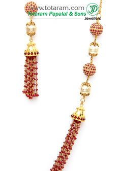 Totaram Jewelers: Buy 22 karat Gold jewelry & Diamond jewellery from India: 22K Gold Necklace & Earrings set with Rubies