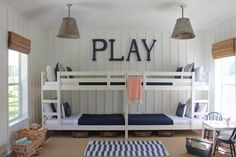 """Today we present you Cute Beach Style Kid's Bedroom Design Ideas"""". These kids bedroom design are ideal and for any kids bedroom even if you don't live by the beach. Ikea Bunk Bed, Kids Bunk Beds, Kura Bed, Loft Beds, Double Bunk Beds, Modern Bunk Beds, Triple Bunk, Double Twin, Mydal Ikea"""