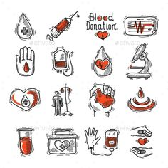 Buy Donor Icon Set by macrovector on GraphicRiver. Donor sketch decorative icon set with blood drop syringe and heart rate isolated vector illustration. Editable EPS an. Blood Donation Posters, Don Du Sang, Sketch Icon, Blood Drop, Nurse Art, Medical Art, Business Illustration, Creative Sketches, Business Card Logo