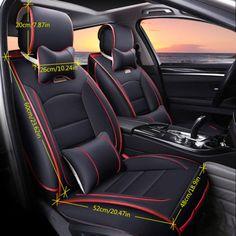 Auto de Lujo de Cuero PU Cubierta de asiento de coche Cojín Pad 5-asientos Frontal + Trasera Con Almohadas