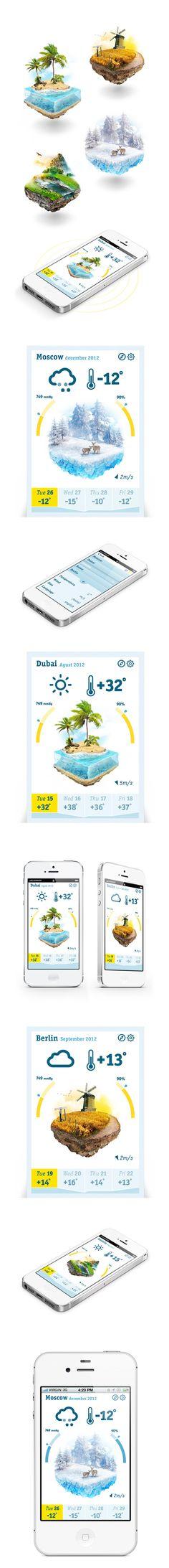 Nice and clean shiny white interface. Cube weather by Ilya Kulikov, via Behance.