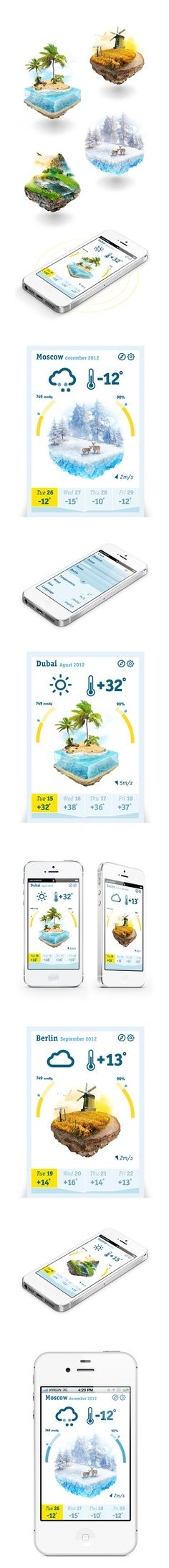 Cube weather by Ilya Kulikov, via Behance