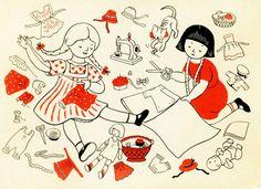 Gravure Illustration, Children's Book Illustration, Illustration Children, Retro Illustrations, Vintage Children's Books, Vintage Art, Vintage Sewing, Images Vintage, Ligne Claire