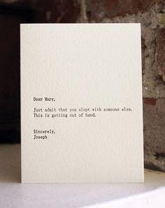dear mary letterpress card by shopsaplingpress on Etsy, $4.50