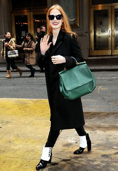 Jessica Chastain rocked some retro footwear heading into NYC's Walter Kerr Theater for the Jan. 30 performance of her Broadway show The Heiress.