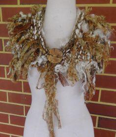 Hand Spun Handknitted soft light Art Yarn Recycled by plumfish, $55.00