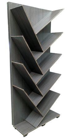 Librero fabricado en Madera industrializada con recubrimiento melaminico , color gris vintage. Medidas: 80 cm Largo X 28 cm Ancho X 190 cm Alto