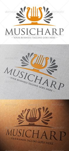 Music Harp Logo Template #GraphicRiver - Three color version: color, greyscale and single color. - The logo is 100% resizable. - You can change text and colors very easy using the named and organized layers that includes the file. - The typography used is