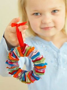 "I'm going to try this with my daughter. Our first ""sewing"" project.   Miniature Wreath Made with Felt"