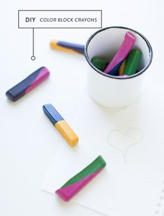 DIY color block crayons
