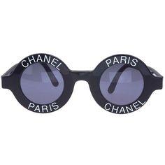 Preowned Chanel 'chanel Paris' Logo Frame Sunglasses (575.845 RUB) ❤ liked on Polyvore featuring accessories, eyewear, sunglasses, multiple, chanel, chanel eyewear, logo sunglasses, chanel glasses and chanel sunglasses