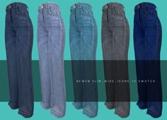 The Sims 4 Pc, Sims Four, Sims 1, Sims 4 Game Mods, Sims 4 Mods, Pelo Sims, Wide Jeans, Sims4 Clothes, Sims 4 Dresses