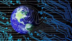 World globe network technology. technology communication. Screen monitor bytes binary code network futuristic abstract cyberspace modern technology background royalty free illustration Technology Background, Free Illustrations, Futuristic, Cyber, Monitor, Communication, Globe, Royalty, Coding