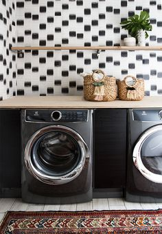 before and after laundry renovation // @electroluxUS washer and dryer…