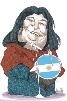 Caricatures, Mercedes Sosa, Latin American Music, Argentine Tango, Rock Legends, Political Cartoons, Emoticon, South America, 1