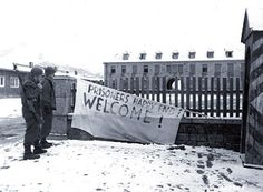 Welcoming banners in front of headquarters