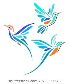 Find Stylized Birds - Hummingbirds in flight Stock Images in HD and millions of other royalty-free stock photos, illustrations, and vectors in the Shutterstock collection. Bird Stencil, Stencil Painting, Fabric Painting, Bird Drawings, Easy Drawings, Animal Drawings, Bird Outline, Fabric Birds, Glass Birds