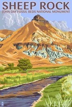 Sheep Rock - John Day Fossil Beds, Oregon - Lantern Press