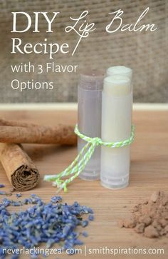Making your own lip balm is super easy and a great introduction to homemade skincare. Essential oils easily change the flavor of the basic recipe. Fun project for older kids, too! DIY Lip Balm Recipe with 3 Flavor Options - Smithspirations Homemade Lip Balm, Diy Lip Balm, Homemade Skin Care, Homemade Beauty Products, Diy Skin Care, Homemade Lipstick, Homemade Cosmetics, Lush Products, Natural Products