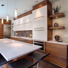 40 Stunning Modern Contemporary Kitchen Ideas - Popy Home Kitchen Dinning, New Kitchen, Kitchen Decor, Kitchen Ideas, Home Interior, Interior Design Kitchen, Mid Century Modern Kitchen, Kitchen Countertops, Townhouse