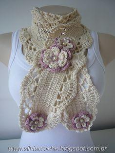 Crochet scarf with flowers Col Crochet, Crochet Motifs, Crochet Collar, Crochet Shawl, Irish Crochet, Crochet Patterns, Crochet Scarves, Crochet Clothes, Crochet Neck Warmer
