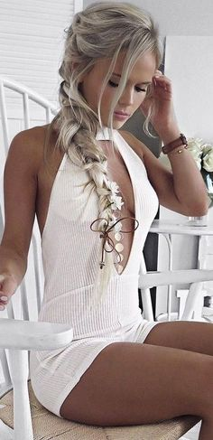 #summer #hildeosland #outfits | Ribbed Knit Playsuit